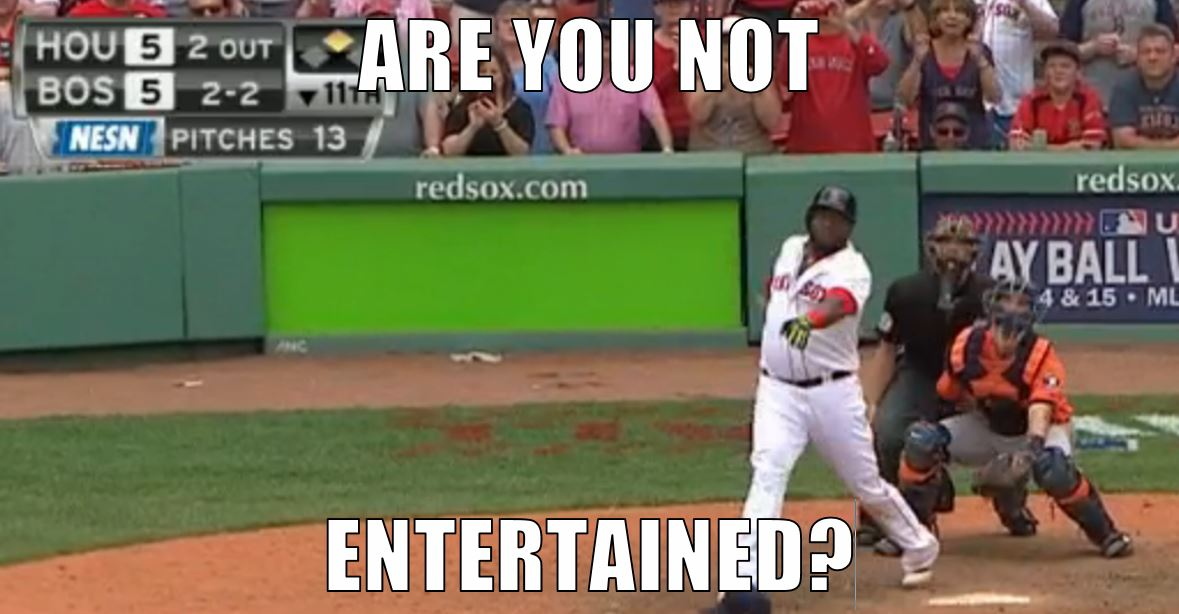 image of Ortiz hitting the walk-off double, with caption ARE YOU NOT ENTERTAINED?